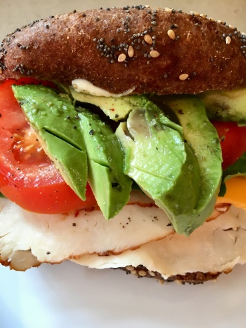 Turkey, Cheese, Tomato & Avocado on a Bagel